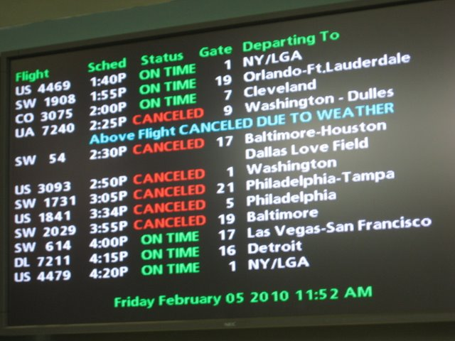 Departure Board at Providence Airport Photos